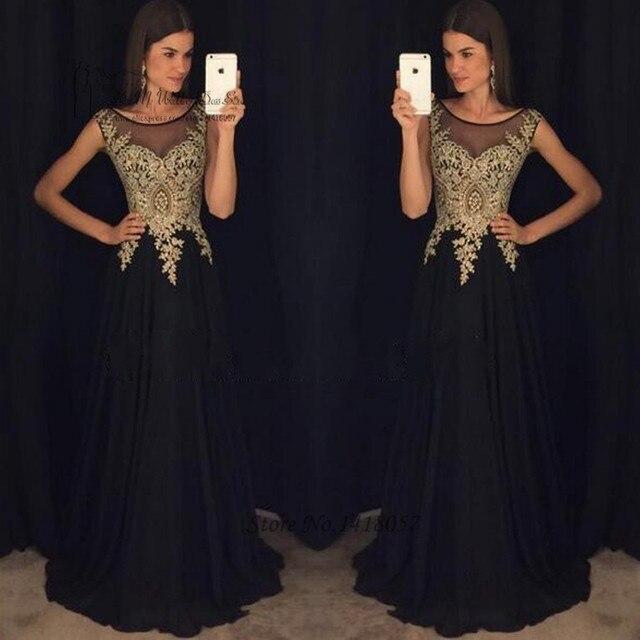 Schwarz Gold Spitze Lange Abendkleider Kleider 2017 Abendkleid ...