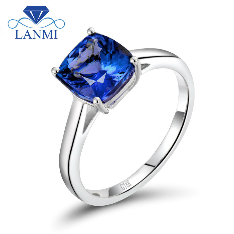 Real 18k White Solid Gold Genuine Gemstone Tanzanite Engagement Rings Cushion Cut for Women Birthday Loving Jewelry Gift  WU216Real 18k White Solid Gold Genuine Gemstone Tanzanite Engagement Rings Cushion Cut for Women Birthday Loving Jewelry Gift  WU216