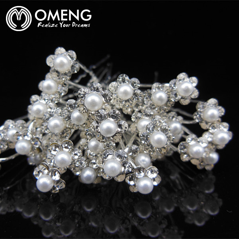 OMENG 10Pcs set Wedding Bridal Pearl Flower Clear Crystal Rhinestone Hair Pins Clips Bridesmaid Hairwear Jewelry