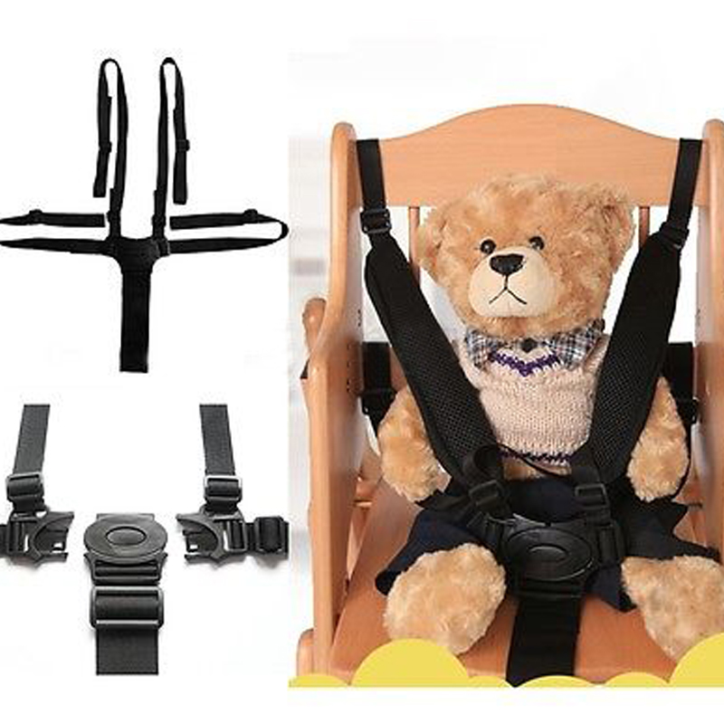 Baby Seat Belt Car Seat Safety Baby Chair Belt Strap Universal High Chair Durable Black Pushchair