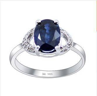 2017 Rushed Rings Qi Xuan_Dark Blue Stone Elegant Ring_S925 Solid Silver Fashion Dark Blue Rings_Manufacturer Directly Sales 2017 rushed qi xuan red stone bangles