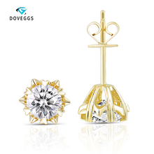 DovEggs 14K 585 Yellow Gold 1.2 Carat CTW 5.5mm F Color Lab Grown Moissanite Diamond Stud Earrings Push Back For Women