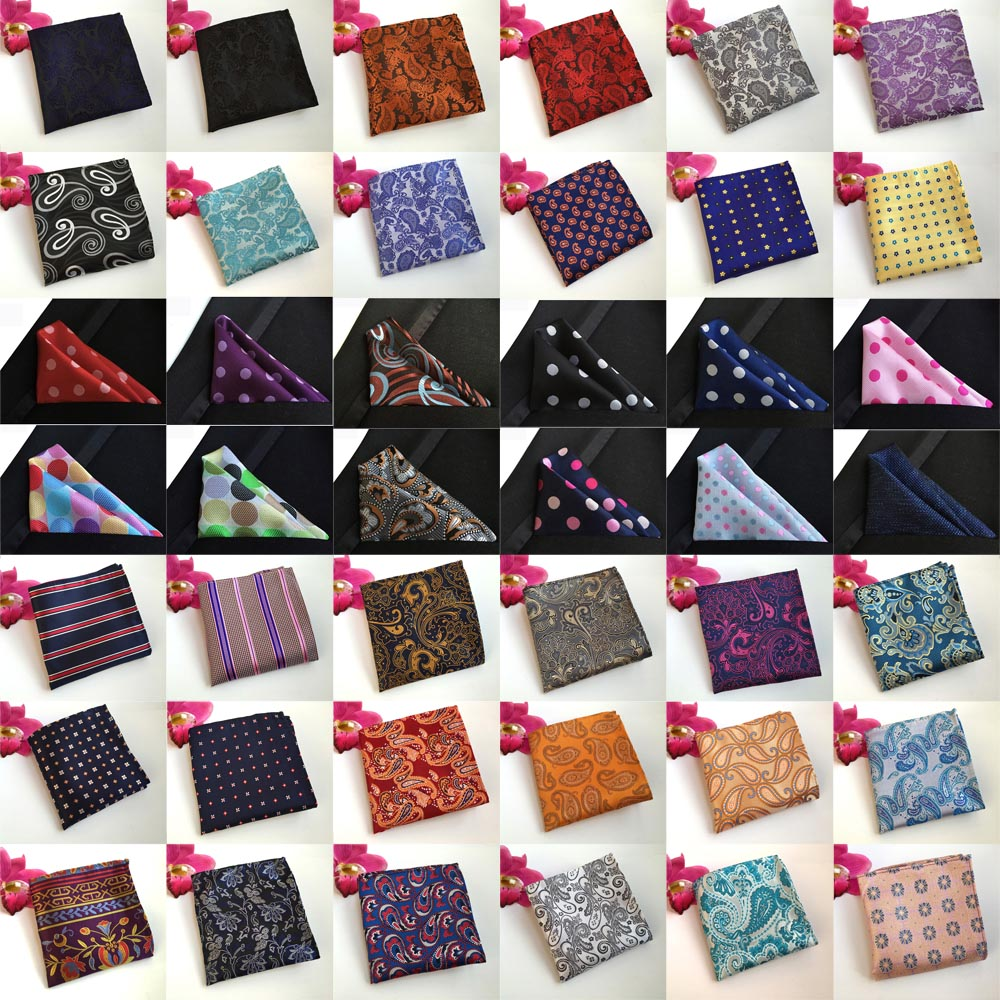 Men Paisley Flowers Polka Dots Stripe Pocket Square Wedding Handkerchiefs BWTHZ0210