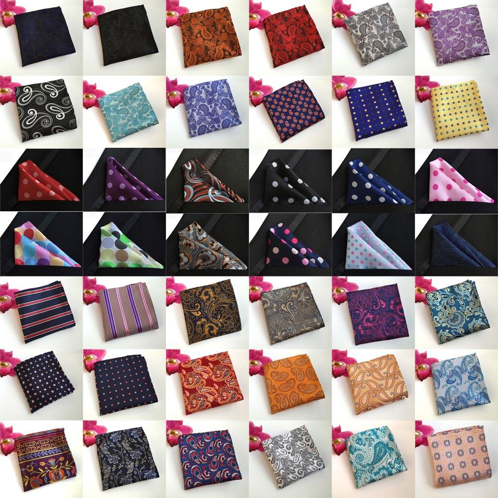 Men Paisley Flowers Polka Dots Stripe Pocket Square Wedding Handkerchiefs BWTHZ0210