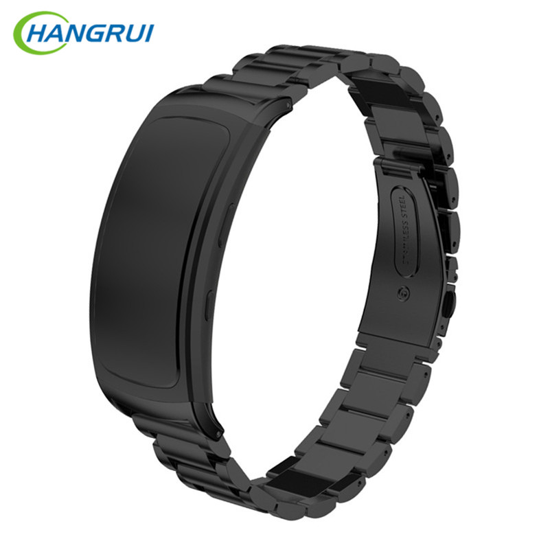 HANGRUI 316 steel watch band for Samsung Gear Fit 2 pro band wrist strap butterfly buckle for Gear Fit2 SM-R360 smart accessory for gear fit2 watch band gear fit2 stainless steel bracelet strap replacement band wristband for samsung gear fit 2 sm r360