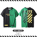 Best Version New Arrival 2017 Spring Summer OFF White Half Color Stitching Twill BLACK Letters Men  Women Short Sleeve T-shirt