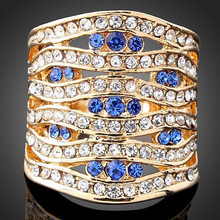 Chran Gold Color Bule Crystal Wide Rings Jewelry Fashion Hollow Design Women Promised