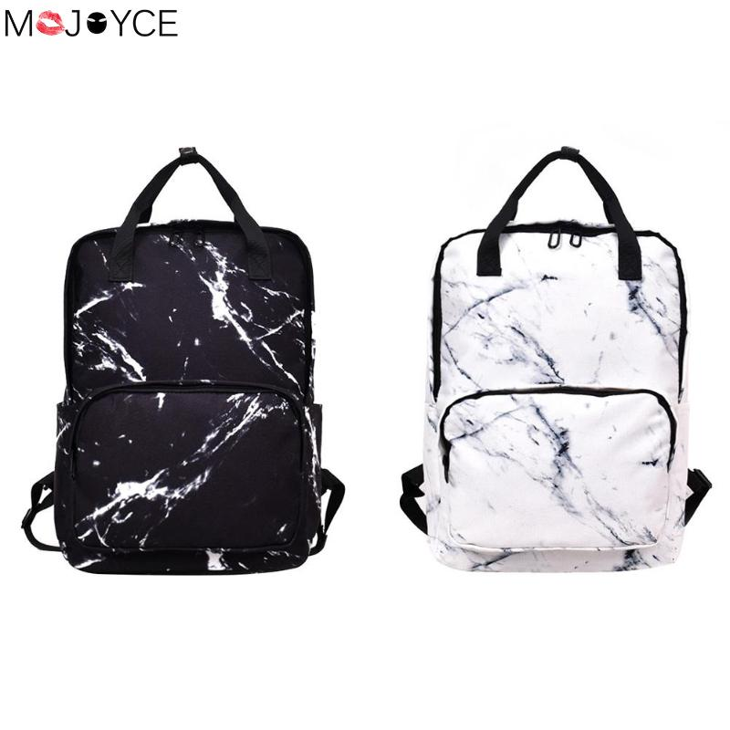 Japan Style Canvas Backpack For Women Marble Stone Pattern Teenager Large Capacity School Backpack Travel Casual Rucksack