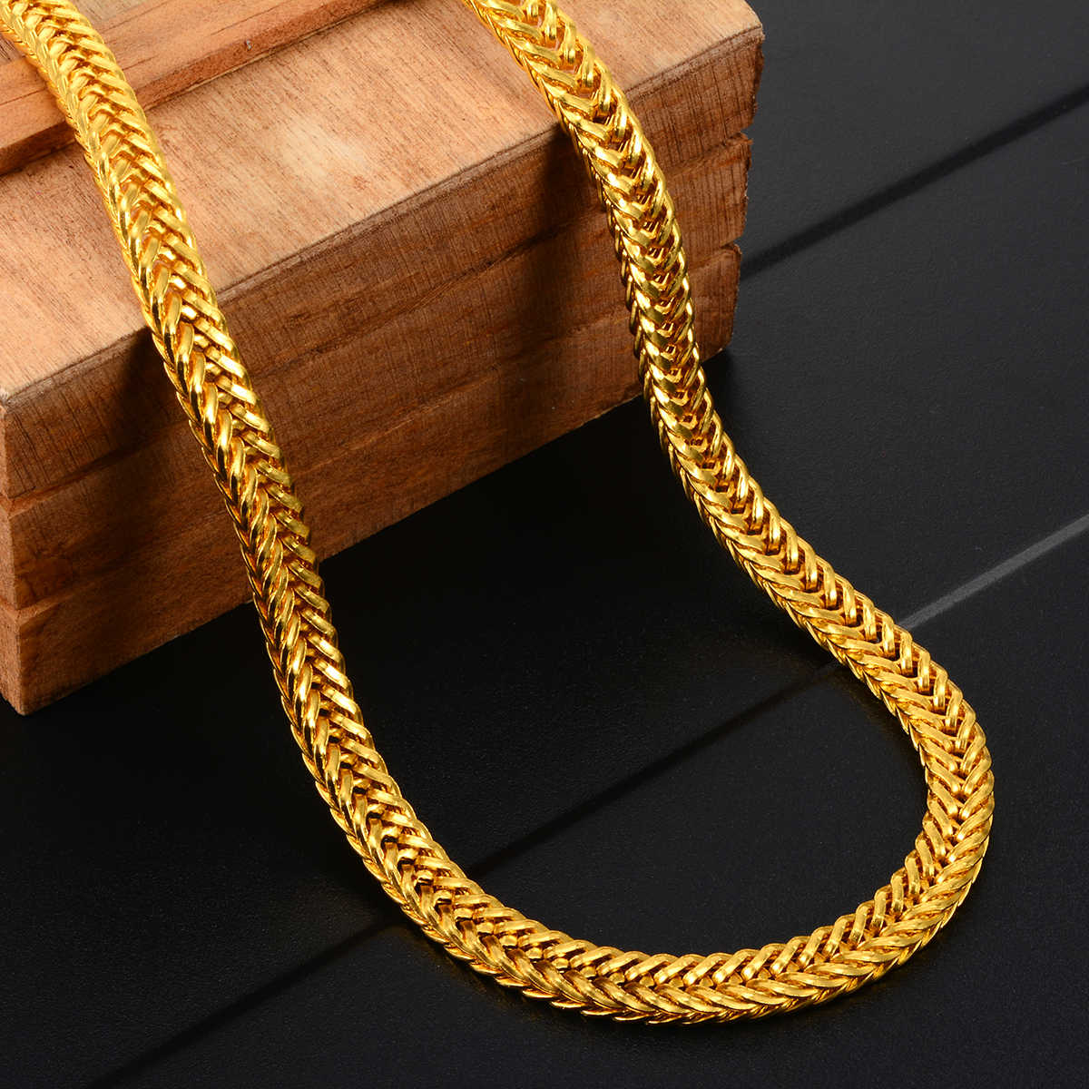 Hip Hop Men Long Gold Chain Necklace 6mm 50cm Cuban Link Chain DIY Jewelry Making Unisex Jewelry Accessories