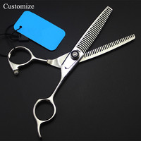 Customize new Japan 440c Double sided Curved teeth 6 inch hair salon scissors barber makas Thinning shears hairdressing scissors
