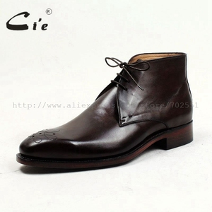 Image 2 - cie square toe medallion 100%genuine calf leather boot patina deep brown handmade bespoke leather lacing mens ankle boot  A99