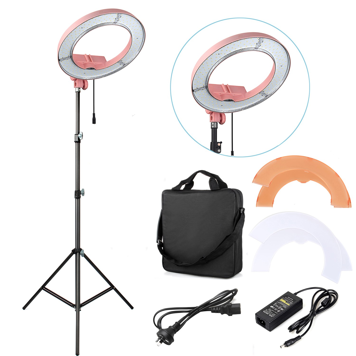 "Free ship ES180 12"" 5500K Dimmable 180 LED Stepless Adjustable Ring Light Camera Photo/Video Flashes Right Light For Phone Bags"