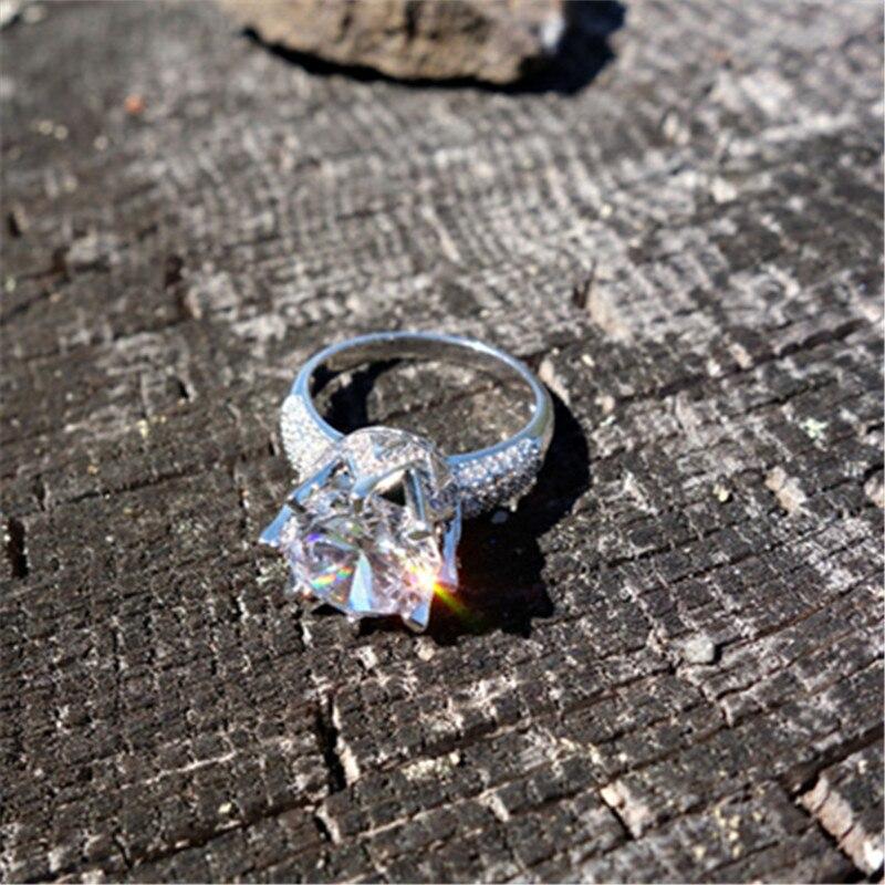 Visisap belo zlato barva prstan 8 karatna krona AAA kubični cirkonij - Modni nakit - Fotografija 4