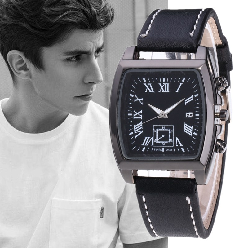 Montre Homme 2019 Rectangular Dial Watch Men Fashion Leather Military Date Quartz Wristwatch Clock Business Watches Reloj Hombre