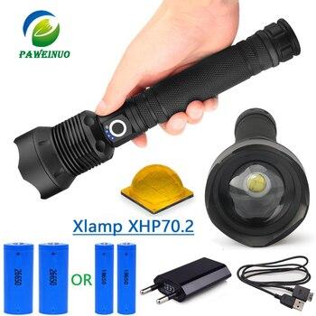 50000 lumen xhp70.2 ultra alto potere della torcia elettrica usb Zoom led della lampada della torcia di caccia xhp70 xhp50 18650 o 26650 batteria Ricaricabile