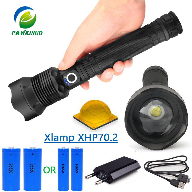 50000 lumens xhp70.2 ultra high power flashlight usb Zoom led torch lamp hunting xhp70 xhp50 18650 or 26650 Rechargeable battery