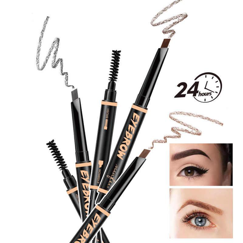 2 in 1 penna Del Sopracciglio Tinta Cosmetici Naturale di Lunga Durata Vernice Del Tatuaggio Eye Brow Nero Impermeabile Marrone Matita di Sopracciglio di Trucco TSLM1