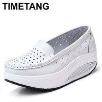 TIMETANG Genuine Leather Boat Shoes Comfort Nurse Shoes Wedges Breathable Swing Women S Pumps Shoes Platform