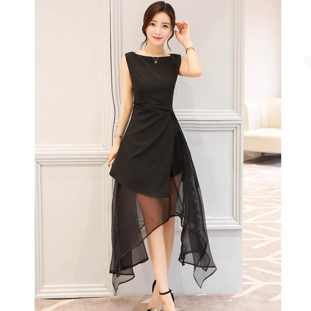 84e2d2e778c Most popular 2019 New Women Clothing Summer Korean Organza Dress Fashion  Irregular Long Sections Black Green Women Dress