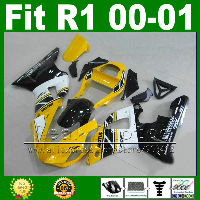 Yellow white Fairings fits YAMAHA YZF R1 2000 2001 body kits YZFR1 00 01  bodywork fairing kit parts U6X1 6 gifts 3 7v 500mah 502535 lithium polymer li po li ion rechargeable battery cells for mp3 mp4 mp5 gps psp mobile bluetooth