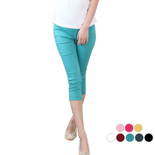 Candy color cropped trousers for pregnant women summer maternity wear