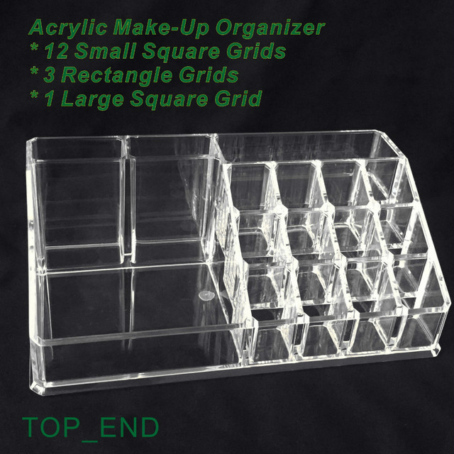 Free Shipping,Crystal Clear,Acrylic Cosmetics/Make Up Organizer,16  Compartments