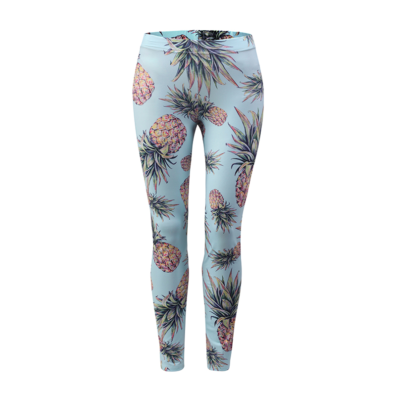 Fashion Trousers Tight Pattern Beautiful Pineapple Fruit Slim Pants Ladys Outer Wear Print 3D Skinny Full Length Cool Girls