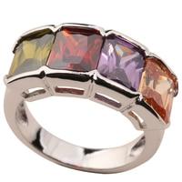 Multi color Zircon Garnet Morganite Peridot 925 Sterling Silver Ring For Women Size 6 / 7 / 8 / 9 / 10 K0435