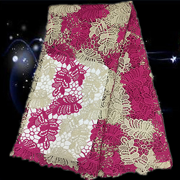 Item No SQG63 high quality African guipure lace fabric lovely flower embroidered cord lace fabric for