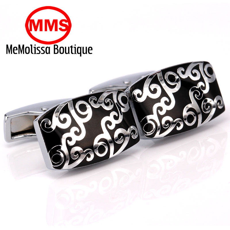MeMolissa High Quality French enamel square black clouds Cufflink For Mens Shirt Brand suit Cuff Buttons Top sale Cuff Links Jew
