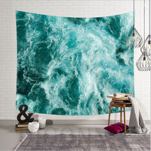 Scenic Blue Cartoon Sea Waves Art Hanging Wall Hippie Tapestry Home Decor Yoga Beach Towel Home Decor island beach scenic wall art decor tapestry