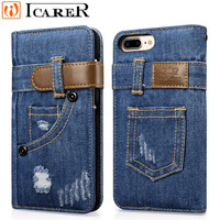 Stylish Genuine Denim Flip Wallet Case For IPhone 7 7 Plus Luxury Durable Jeans Cases For