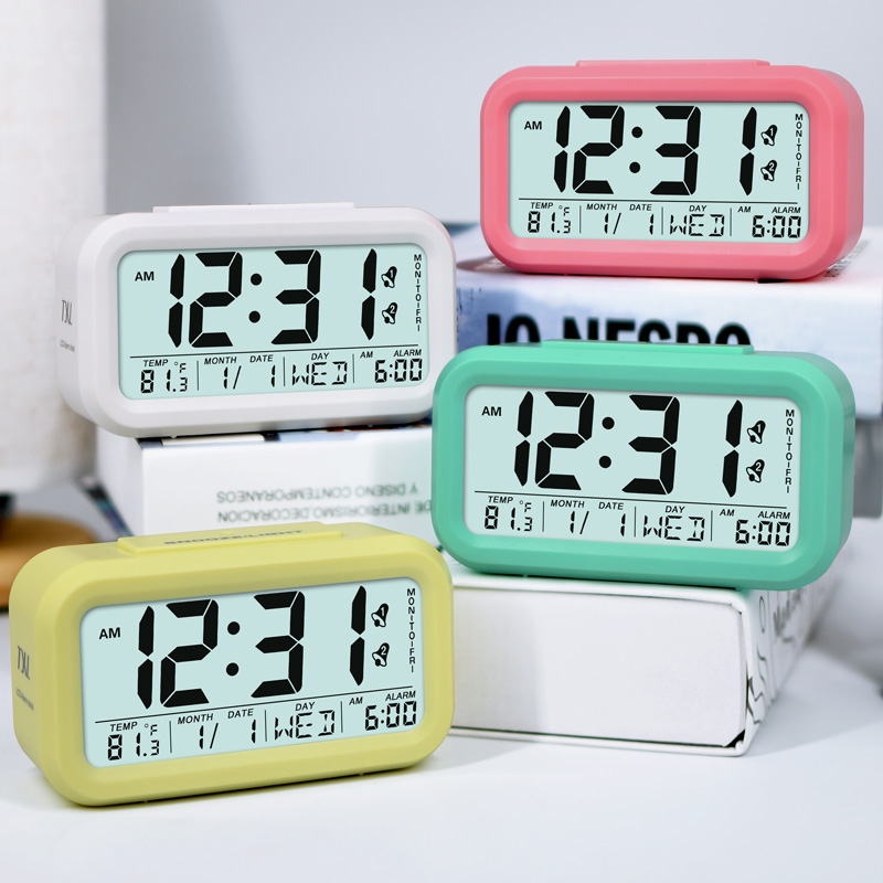 Large Digital Alarm Clock LCD Student Electronic Clock Snooze Sensor Kids  Table Clock Bedroom Clock Night Light 2 Alarms In Alarm Clocks From Home U0026  Garden ...