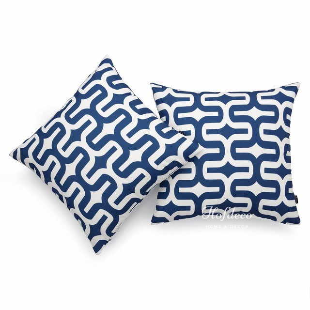 2pcs Throw Pillow Cover Set Canvas Navy Blue Embrace Geometric Nautical Decor 45x45cm