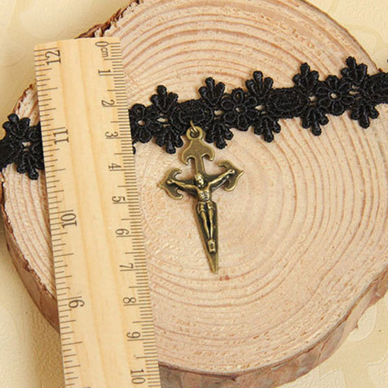 NWT Handmade Gothic Bronze Alloy Christ Cross Pendant Black Floral Lace  Choker Short Necklace Collar Lolita Punk Vintage Retro-in Choker Necklaces  from ... f1c3b7881d1d