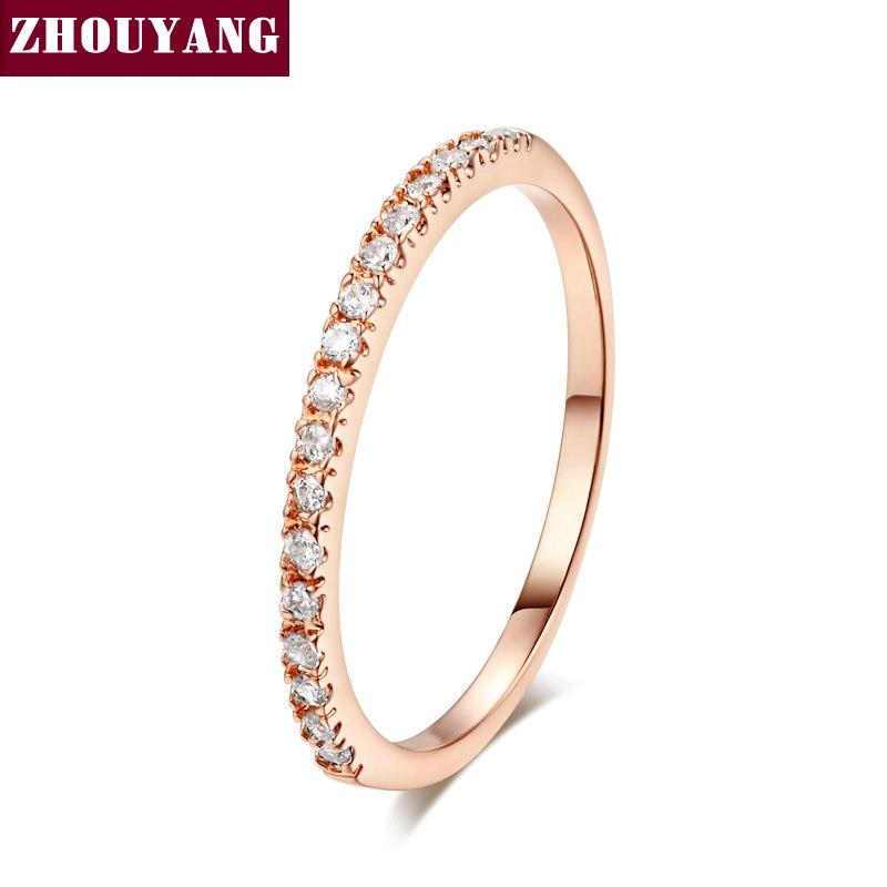 ZHOUYANG обручальное кольцо для женщин и мужчин лаконичное классическое многоцветное мини кубическое циркониевое розовое золото цвет подарок модное ювелирное изделие R251 - Цвет основного камня: R132