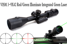 VISM 3 9X42 Red Green Illuminate Tactical Riflescope w Integrated Green Laser Sight Hunting Rifle Scope