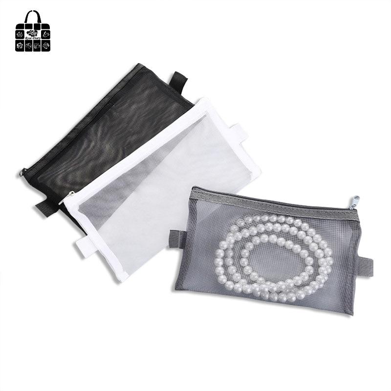 Rose Diary New Multi-Function Transparent Mesh Beauty Zipper Travel Cosmetic Bag Portable Toile Pouch Pencil Bag Purse bag beauty slimming tea 2 5g portable bag 12 bag