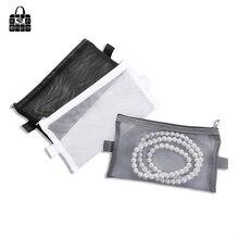 Купить с кэшбэком Rose Diary New Multi-Function Transparent Mesh Beauty Zipper Travel Cosmetic Bag Portable Toile Pouch Pencil Bag Purse bag