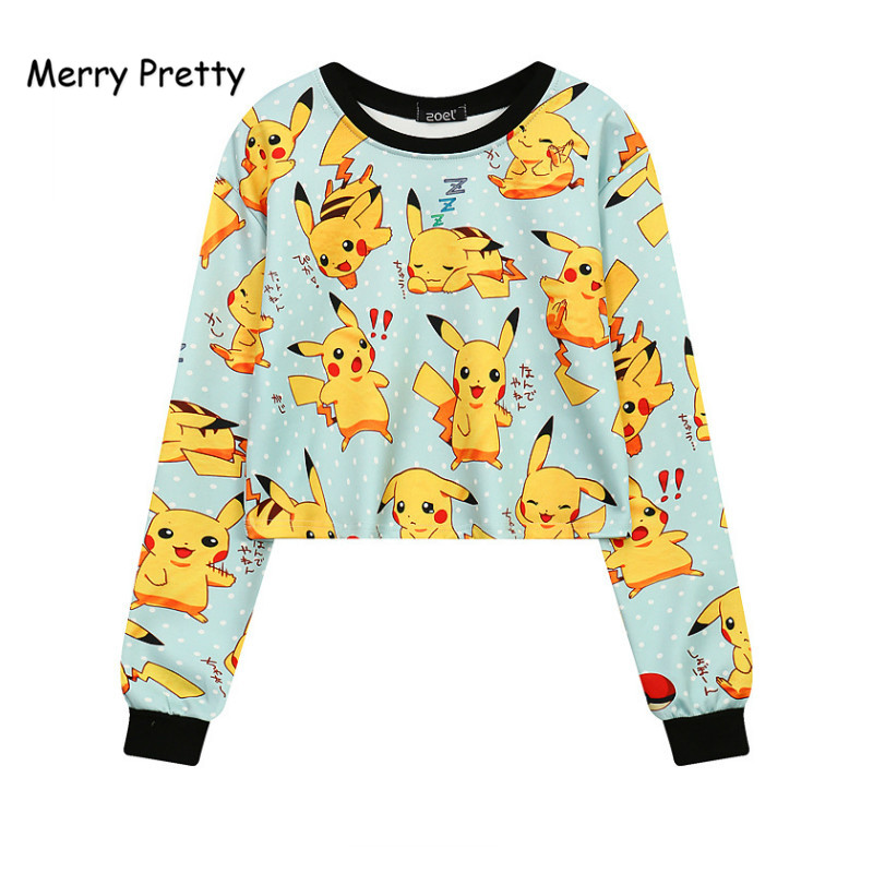 Merry Pretty Autumn New Harajuku Crop Tops Women 3D Print Pokemon Sweatshirts Long Sleeve O-neck Funny Pullovers Girl Drop Ship