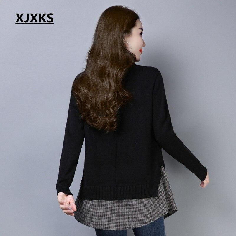 Poches Pièces Xjxks kaki Coréenne Mode rose bleu De down Long Noir Style Chandail Col Deux marron Femmes Patchwork Turn Pull Faux tQdshr