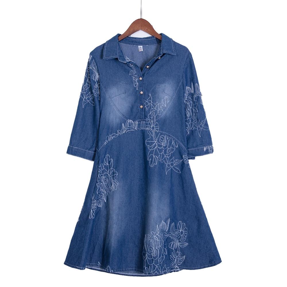 Estilo de verano vestido de mezclilla de las mujeres ropa de mujer media manga larga bordado largo vestidos delgados más tamaño Vestidos de fiesta D52547
