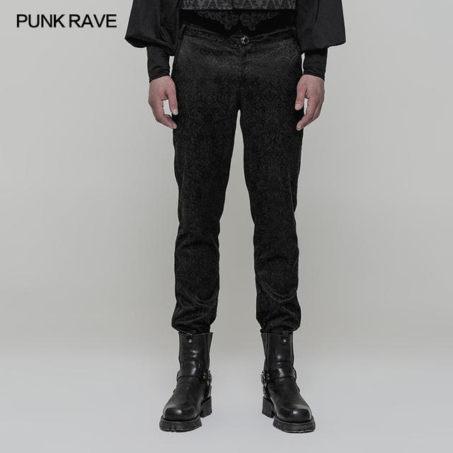 Punk Rave Retro Gothic Cowboy High Waist Palace Club Rock flowers Jacquard Trousers Pants WK313