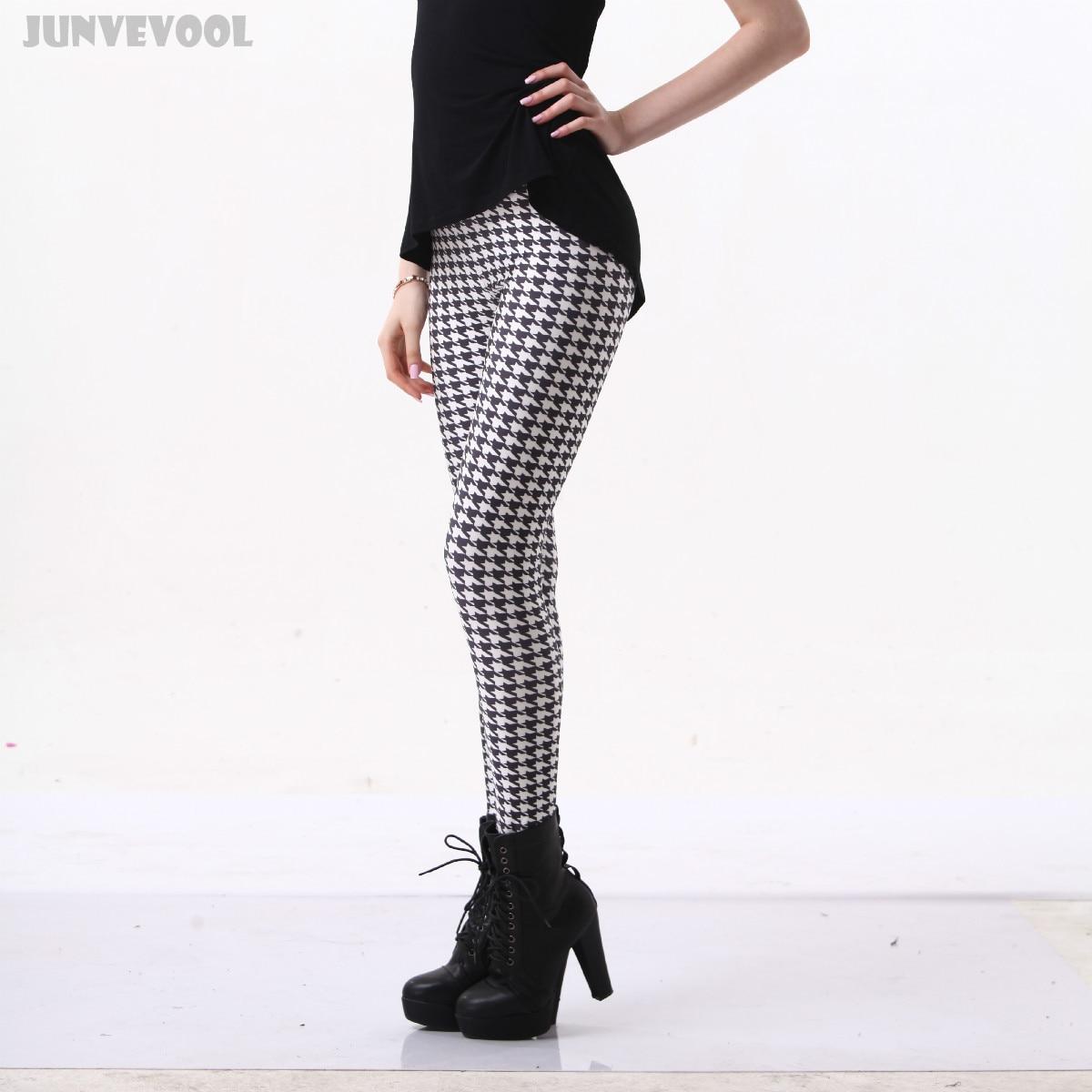 Leggis Womens Leggings Pants Black White Grid Cat Printed Patchwork Trousers Stretch Ankle Length Long Seamless Capris Clubwear