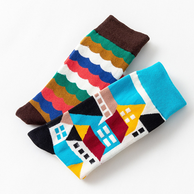 Geometry Style Fashion Socks Short Female Funny Cotton Socks Women