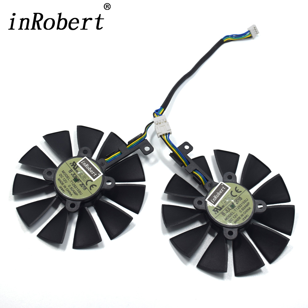 A Pair 87MM Cooler Fan For ASUS GTX1060 1070 Ti RX 470 570 580 Graphics Card Everflow T129215SU PLD09210S12HH 28mm Cooling Fans free shipping for gtxtitan 6gd5 6g seconds 1070 980 1060 970 780 rx 470