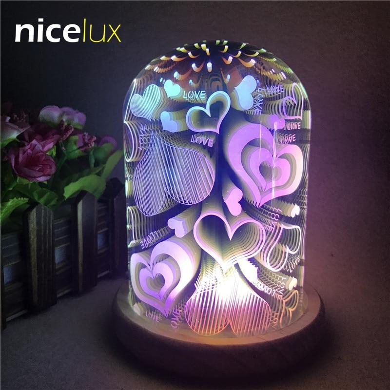 3D Pattern Magic LED Night Light Glass Lampshade USB 5V Atmosphere Bedroom Table Creative Decoration Lamp Gift Light for Girl