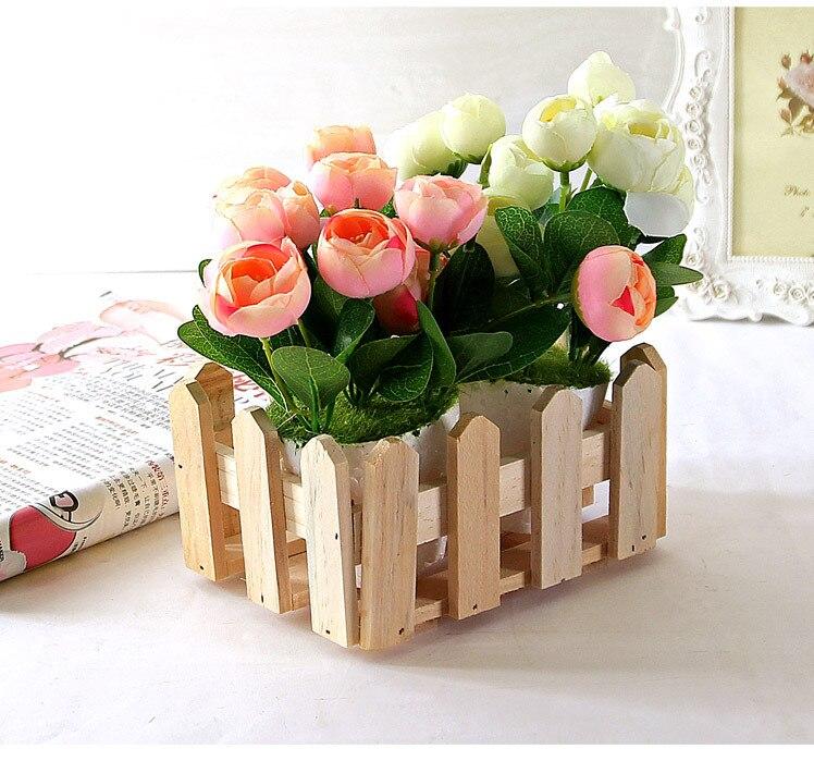 Natural Rectangle Wood Flower Holder Box Wooden Organizer