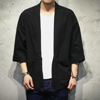 Japan Style Kimono Jacket Men 100 Cotton Linen Loose Mens Jackets Plus Size 3 4 Sleeve