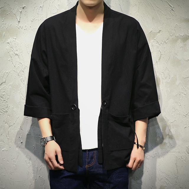 Japan Style Kimono Jacket Men 100% Cotton&Linen Loose Mens Jackets ...